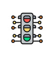 smart traffic light flat color line icon isolated vector image