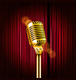 stage curtains with shining microphone standup vector image