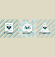three colored labels with blue vector image