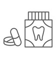 toothache painkiller tablets thin line icon vector image vector image