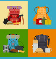 tourist camping backpack banner card travel vector image vector image