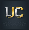 uc - initials gold logo inlaid with silver u and vector image vector image