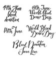 various blood donation day lettering set isolated vector image vector image
