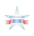 veterans day emblem from star and us glag ribbon vector image