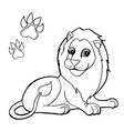 paw print with Lion Coloring Pages vector image