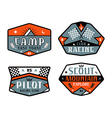 Set of race and camping patch vector image