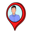 map pointer with businessman icon cartoon vector image