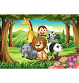 A forest with animals vector image vector image