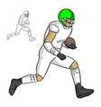 american football player running with the ball vector image vector image