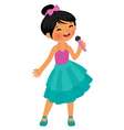 Asian little girl singing hold the microphone vector image vector image