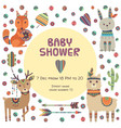 baby shower label ethnic cute little animals fox vector image