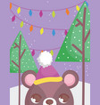 bear head with hat trees lights merry christmas vector image vector image
