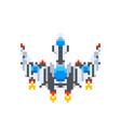 big vintage spaceship game hero in pixel art vector image
