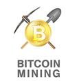 bitcoin mining logo with golden bitcoin on pickaxe vector image vector image