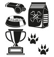 black and white dog care poster silhouette vector image vector image