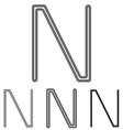 Black letter n logo design set vector image vector image