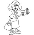 Cartoon old lady with a megaphone vector image vector image