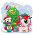 cartoon unicorn and two owls is near the vector image vector image