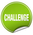 challenge round green sticker isolated on white vector image vector image