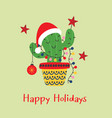 christmas card with funny cactus in santa red hat vector image vector image