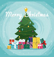 christmas tree with gifts greeting card vector image