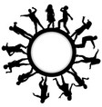 circle frames with children silhouettes dancing vector image