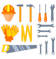 colorful cartoon 15 handyman tools set vector image