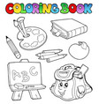 coloring book with school images 1 vector image