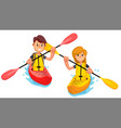 couple rides a kayak boat on the lake vector image