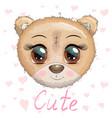 cute cartoon muzzle bear with a unicorn horn vector image vector image