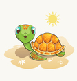 cute turtle cartoon on beach vector image