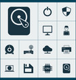 device icons set collection of hdd diskette vector image vector image