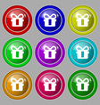 gift icon sign symbol on nine round colourful vector image