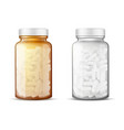 glass bottles with pills realistic mock-up vector image