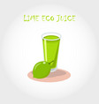glass of bio fresh lime juice vector image vector image