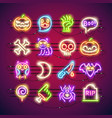 halloween colorful neon icons vector image vector image