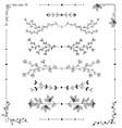 hand drawn floral borders set decorative elements vector image
