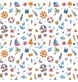 Hand drawn seamless pattern of marine symbols vector image