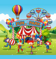 happy clowns in fun park vector image vector image
