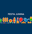 happy festa junina banner party decoration vector image