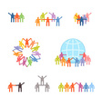 Icons set of successful teamwork and cooperation vector image