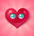 kawaii heart blue eyes vector image vector image