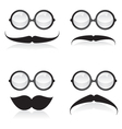 Mustache and sunglasses vector image vector image