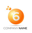 number six splash logo orange dots and bubbles vector image vector image