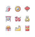 oriental culture rgb color icons set vector image