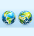 planet earth 3d realistic icon set vector image vector image