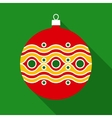 Red Christmas Ball in Flat Style with Long Shadows vector image