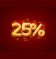 sale 25 off ballon number on red background