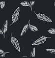seamless pattern with hand drawn chalk calathea vector image vector image