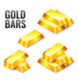 set of gold bars icon isolated on white vector image vector image
